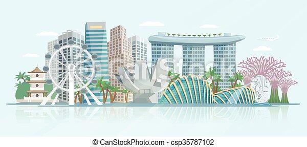 Singapore Skyline Flat Panoramic View Poster  - csp35787102