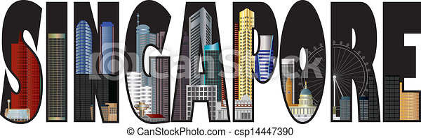 Singapore Skyline Text Outline Color Illustration - csp14447390