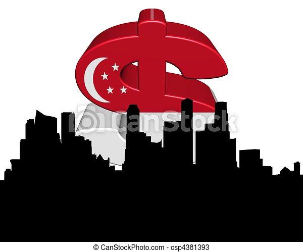 Singapore skyline with flag dollar symbol