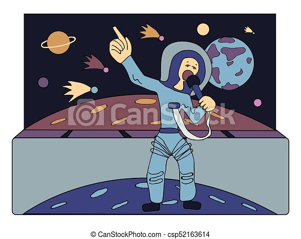 Singer in space in front of comets and planets. Guide across the Univers. Occupations of the future. Comic vector illustration. - csp52163614