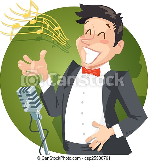 Singer sing with microphone - csp25330761