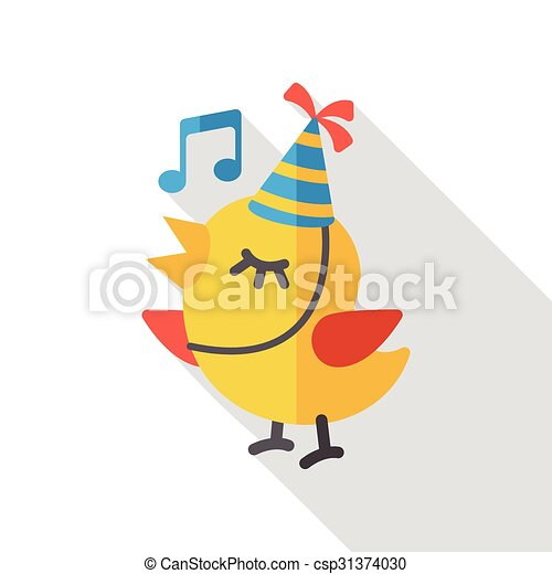 singing bird flat icon - csp31374030