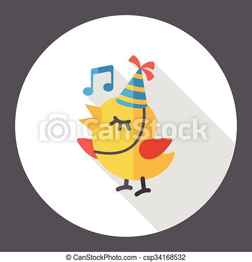 singing bird flat icon - csp34168532