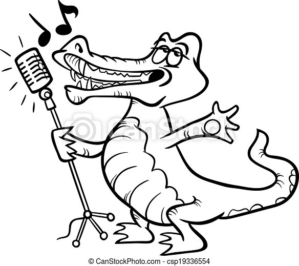 Singing crocodile coloring page. Black and white cartoon ...