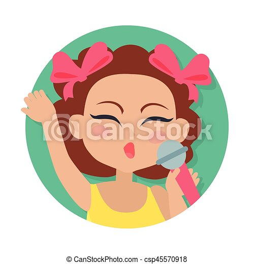 Singing Girl with Microphone in Hand. Brown Hair - csp45570918