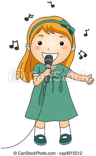 singing kid illustration of a singing girl rh canstockphoto com Chorus Clip Art Christian Singing Clip Art