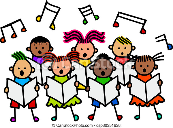 singing kids a group of happy and diverse stick children singing rh canstockphoto com