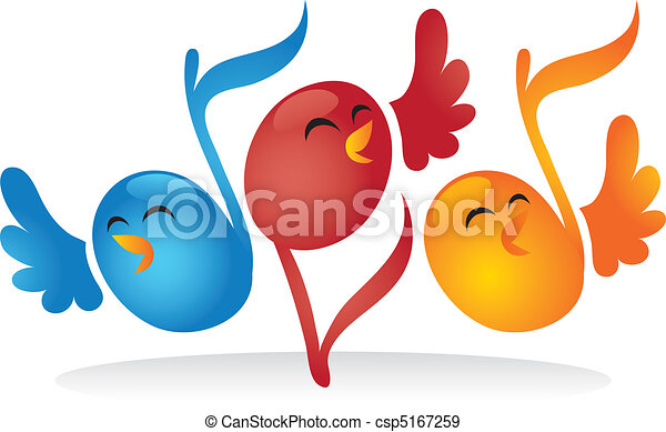 Singing Musical Note Birds - csp5167259