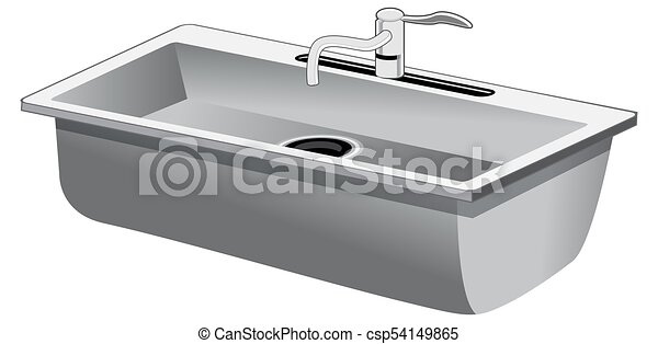 An image of a single basin stainless steel kitchen sink isolated on ...