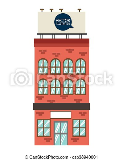 flat design single brick building icon vector illustration. Black Bedroom Furniture Sets. Home Design Ideas