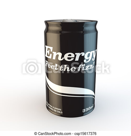 single can of fizzy soda energy drink with original design - csp15617376