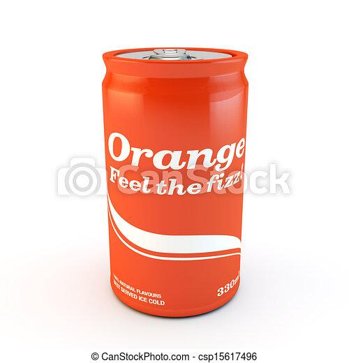 single can of fizzy soda orange with original design - csp15617496