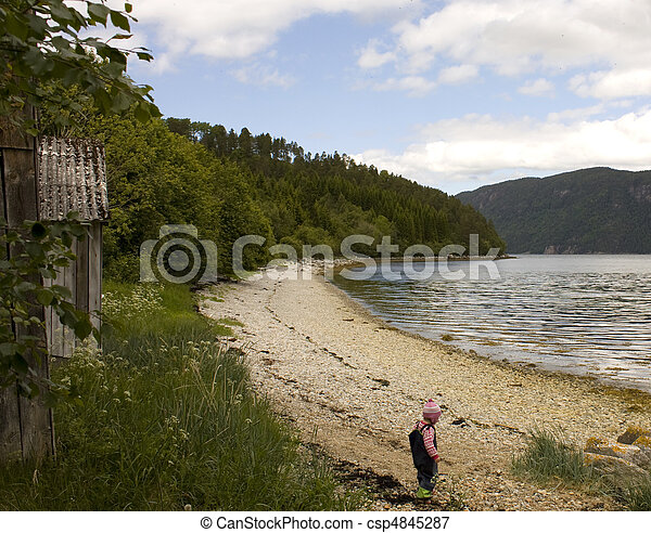Single child alone on a long beach.  - csp4845287