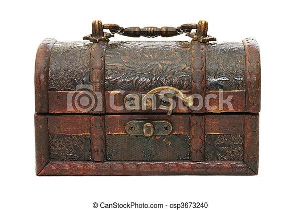 single closed wooden chest with metal ornament  - csp3673240