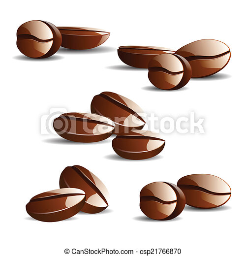 Vector single coffee bean with leaf isolated on white ...