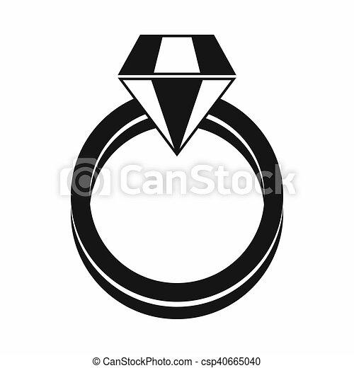 Single Diamond Ring Icon Simple Style Single Diamond Ring In
