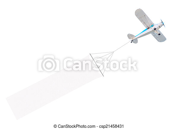 Single engine plane with banner - csp21458431
