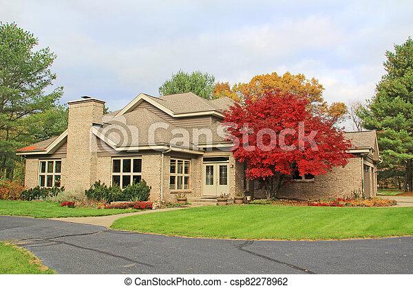 Single Family Brick Contemporary Home - csp82278962