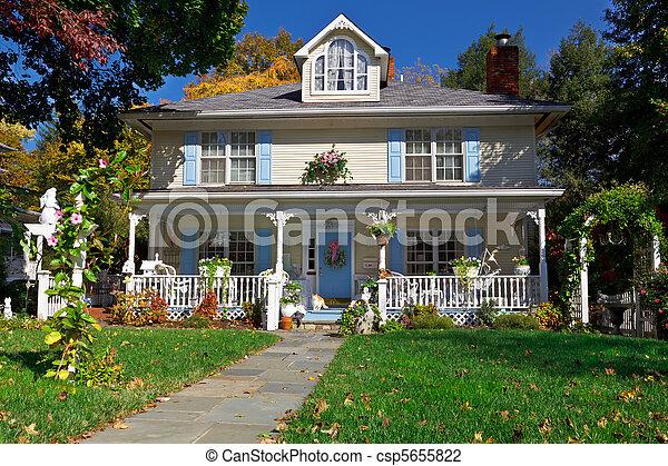 Single Family House Pastel Prairie Style Autumn - csp5655822