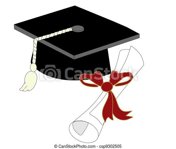 Single Graduation Cap and diploma - csp9302505