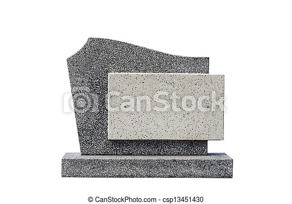 single grave stone cut out (Clipping path) - csp13451430