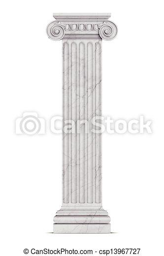 Single greek column isolated on white - csp13967727