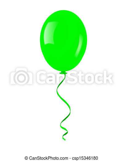 Single green balloon. - csp15346180