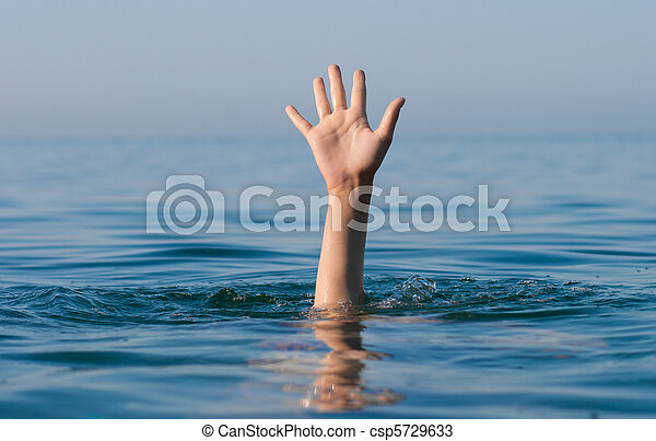 single hand of drowning man in sea asking for help - csp5729633