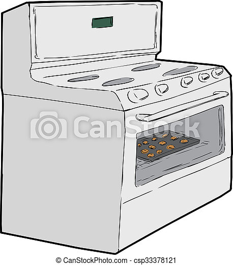 single oven with cookies inside cartoon sketch of induction stove