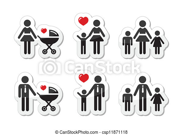 Single parent sign - family icons - csp11871118