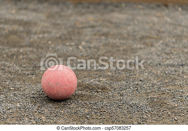 Single Red Bocce Ball Lower Left - csp57083257