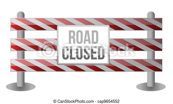 Single Road Closed Barrier - csp9654552