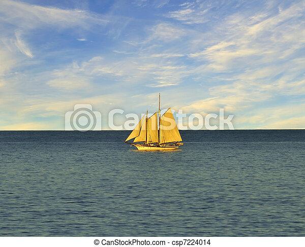 Single sail boat on the lake. - csp7224014