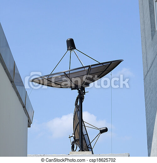 Single satellite dish with blue sky - csp18625702
