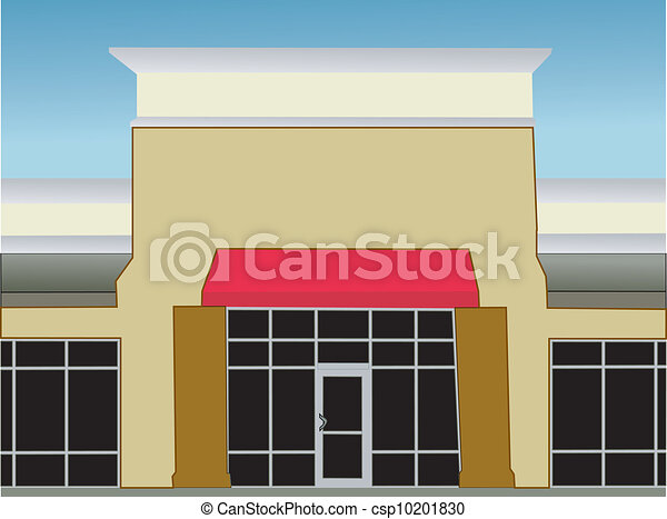 Single Storefront Red Awning Exterior View Of A Single