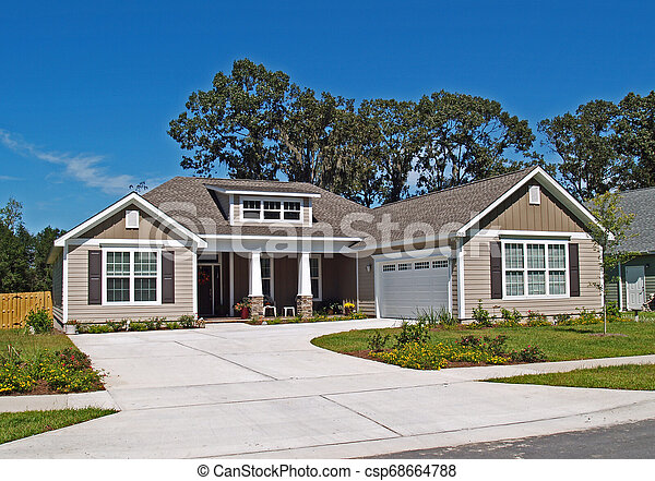 Single Story Home with Garage - csp68664788