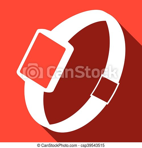 Single watch gadget icon, vector illustration over red - csp39543515