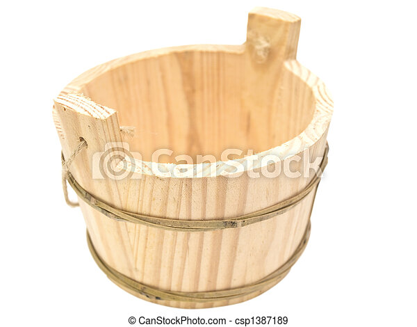 Single wooden sauna vat  - csp1387189