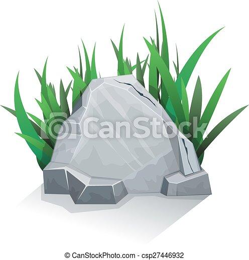 singolo, erba, pietra - csp27446932