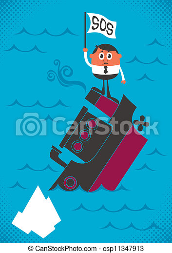 Sinking ship. Man, sinking with his ship. no transparency ... Underwater Clipart Black And White