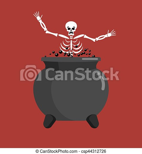 Sinner in boiler. Skeleton in pot. Cook for sinners in resin. Religion illustration. Hell symbol. Hells torments - csp44312726