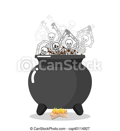 Sinners in cauldron in hell. Skeletons are cooked in resin in underworld. Dead are experiencing hellish pains. Big black pan. Price paid for sins. Religious illustration - csp40114927