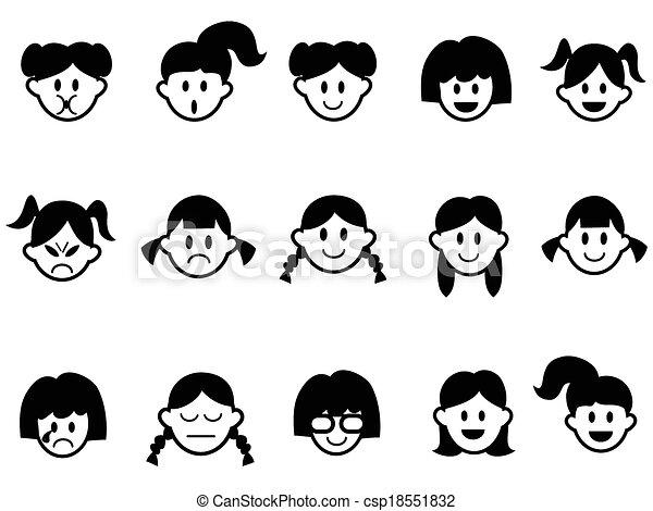 sinnesrörelse, ansikte, flickor, ikonen - csp18551832