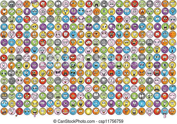 sinnesrörelse, emoticons, vectors, ikon - csp11756759