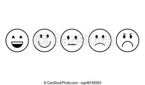 sinnesrörelse, sätta, folk, ansikte, le, tecknad film, ikon - csp48185563