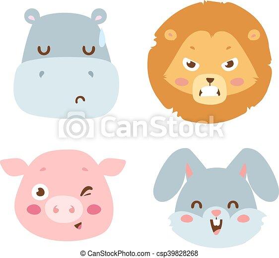 sinnesrörelse, vektor, avatar, djur, ikon - csp39828268