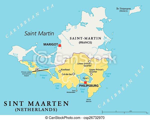 Sint Maarten Political Map - csp26732970