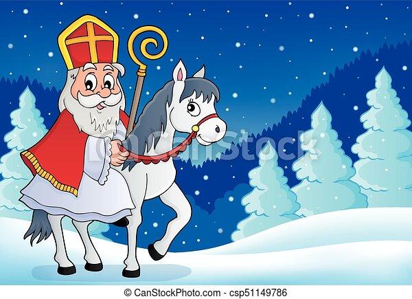 sinterklaas, 馬, 主題, 圖像, 6 - csp51149786