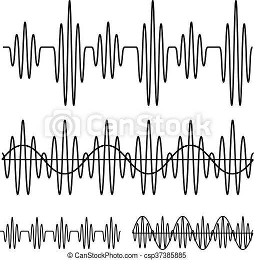sinusoidal sound wave black line - csp37385885