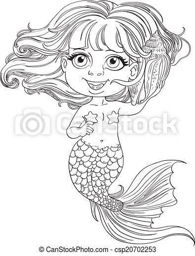 Sirena pequeña, contorneado, niña. Poco, cáscara, oye, contorneado ...